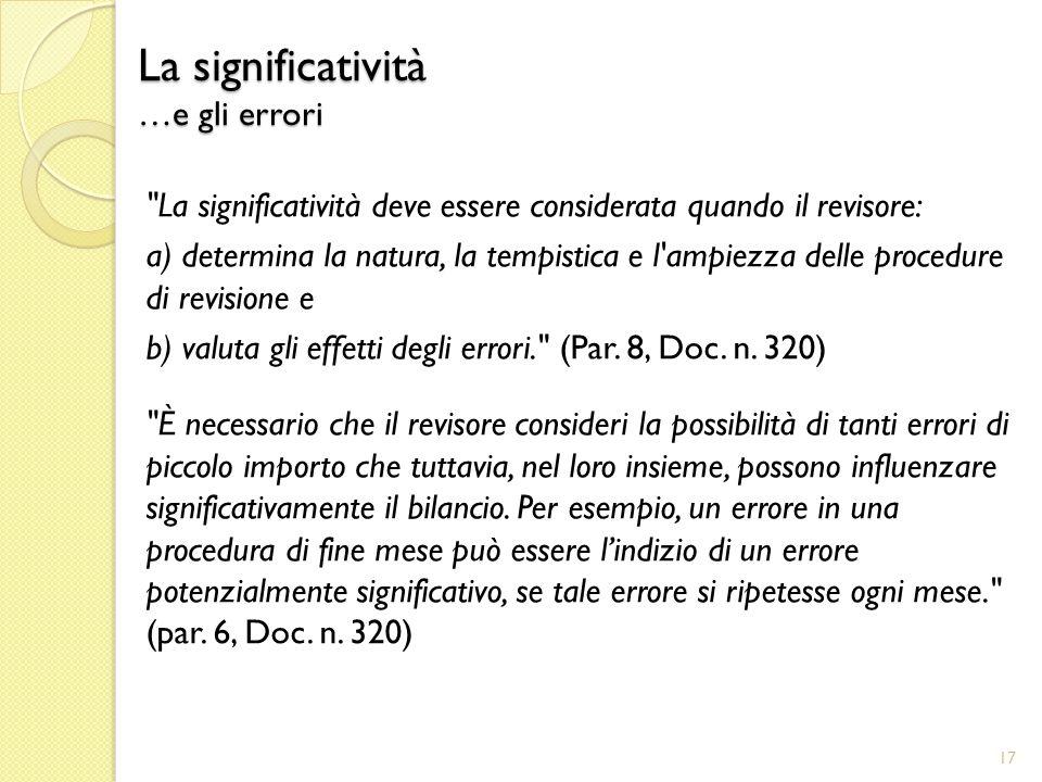 La significatività …e gli errori La significatività deve essere considerata quando il revisore: a) determina la natura, la tempistica e l ampiezza delle procedure di revisione e b) valuta gli effetti degli errori. (Par.