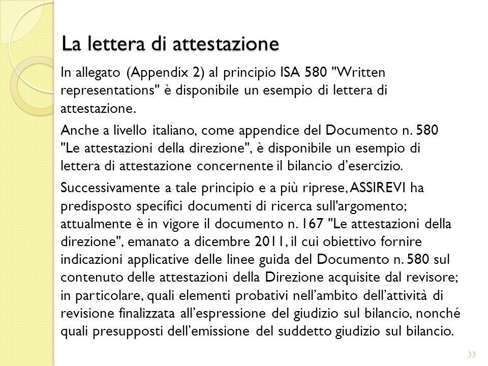 In allegato (Appendix 2) al principio ISA 580 Written representations è disponibile un esempio di lettera di attestazione.