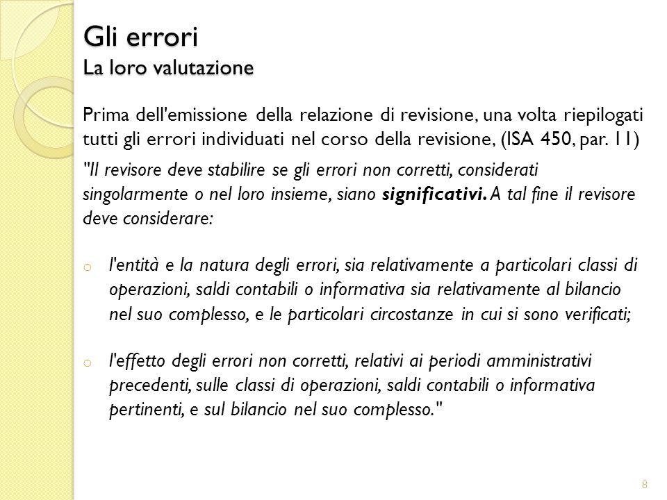 Prima dell emissione della relazione di revisione, una volta riepilogati tutti gli errori individuati nel corso della revisione, (ISA 450, par.