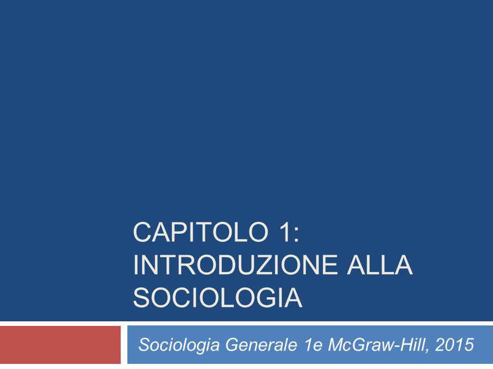 CAPITOLO 1: INTRODUZIONE ALLA SOCIOLOGIA Sociologia Generale 1e McGraw-Hill, 2015