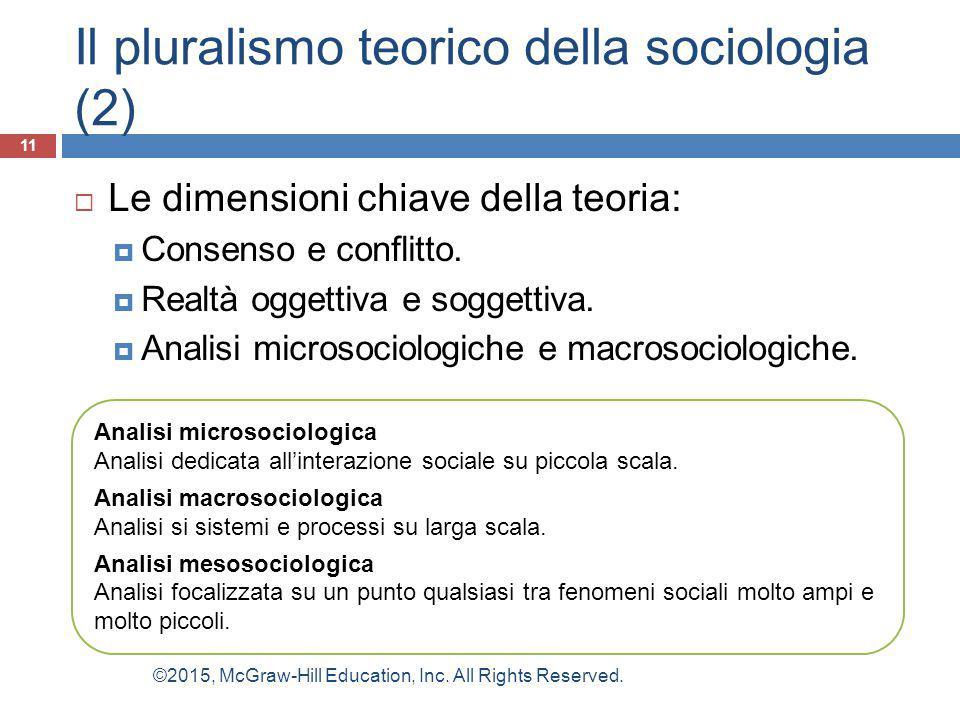 Il pluralismo teorico della sociologia (2)  Le dimensioni chiave della teoria:  Consenso e conflitto.  Realtà oggettiva e soggettiva.  Analisi mic