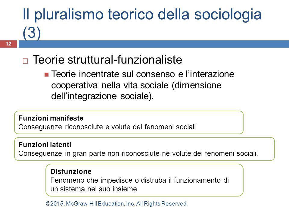 Il pluralismo teorico della sociologia (3)  Teorie struttural-funzionaliste Teorie incentrate sul consenso e l'interazione cooperativa nella vita soc