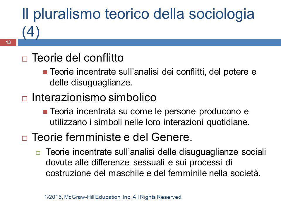 Il pluralismo teorico della sociologia (4)  Teorie del conflitto Teorie incentrate sull'analisi dei conflitti, del potere e delle disuguaglianze.  I