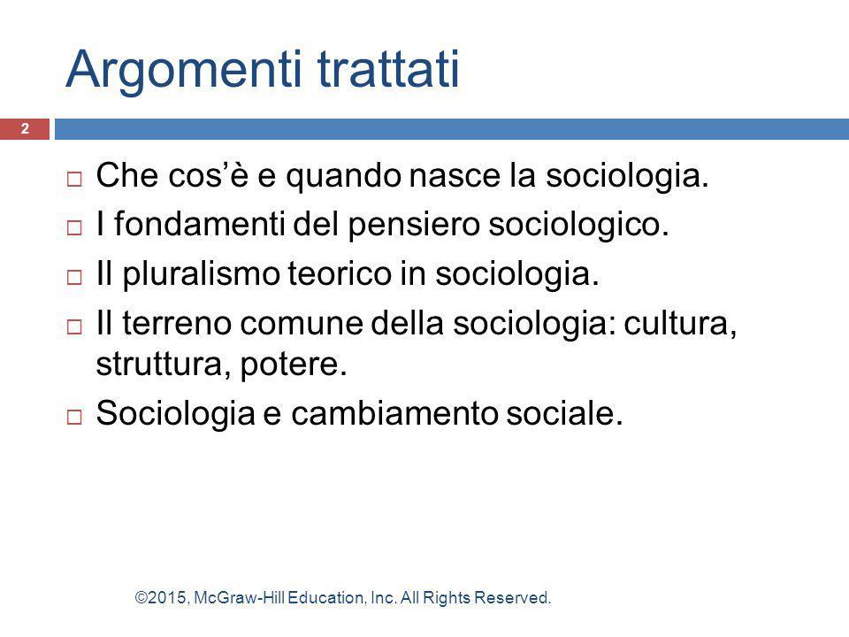 Argomenti trattati  Che cos'è e quando nasce la sociologia.  I fondamenti del pensiero sociologico.  Il pluralismo teorico in sociologia.  Il terr