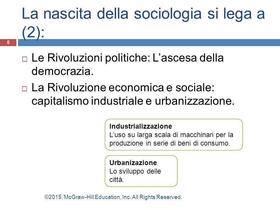 La nascita della sociologia si lega a (2):  Le Rivoluzioni politiche: L'ascesa della democrazia.  La Rivoluzione economica e sociale: capitalismo in