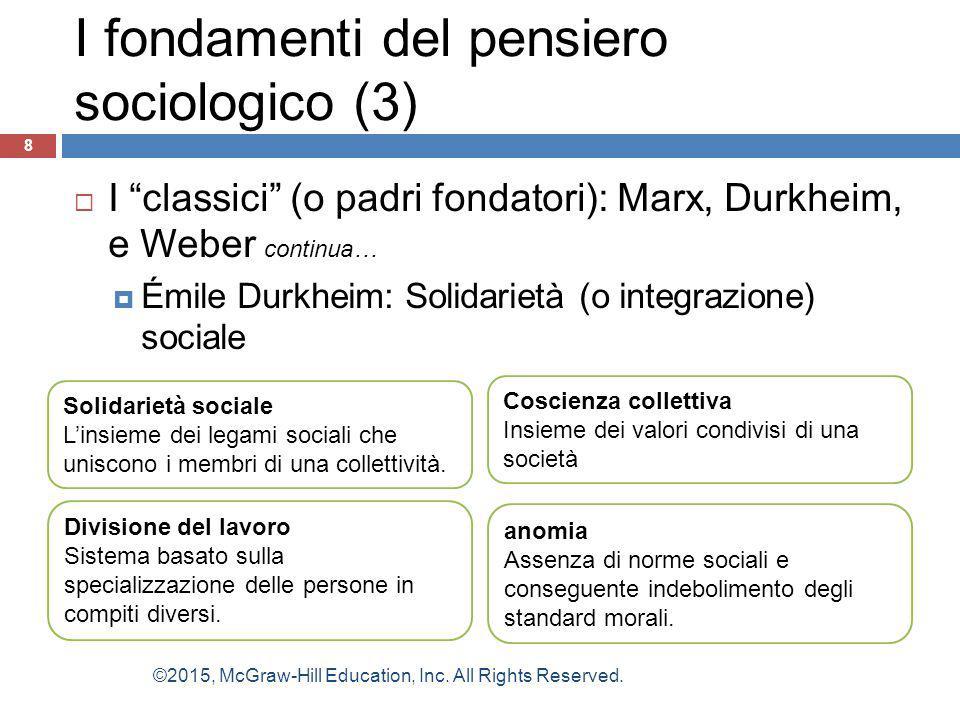 """ I """"classici"""" (o padri fondatori): Marx, Durkheim, e Weber continua…  Émile Durkheim: Solidarietà (o integrazione) sociale 8 Solidarietà sociale L'i"""