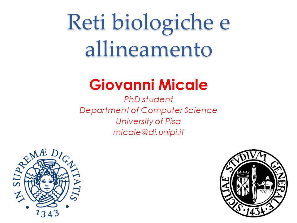 Reti biologiche e allineamento Giovanni Micale PhD student Department of Computer Science University of Pisa micale@di.unipi.it