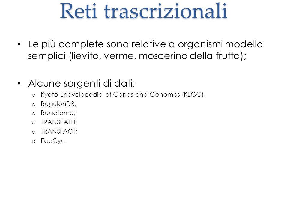 Reti trascrizionali Le più complete sono relative a organismi modello semplici (lievito, verme, moscerino della frutta); Alcune sorgenti di dati: o Ky