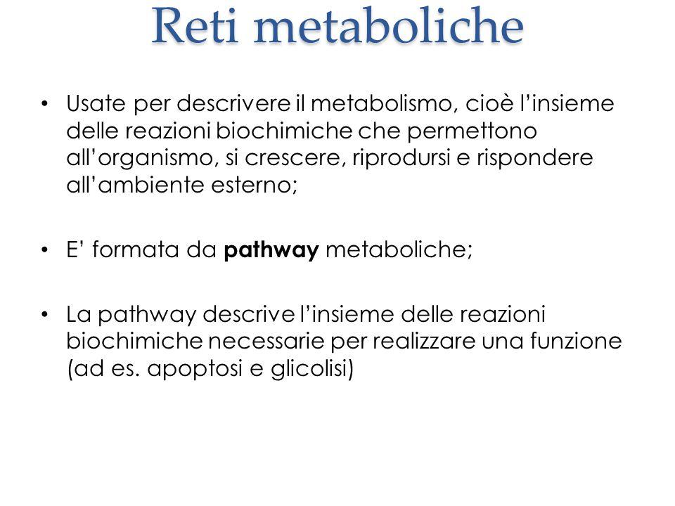 Reti metaboliche Usate per descrivere il metabolismo, cioè l'insieme delle reazioni biochimiche che permettono all'organismo, si crescere, riprodursi e rispondere all'ambiente esterno; E' formata da pathway metaboliche; La pathway descrive l'insieme delle reazioni biochimiche necessarie per realizzare una funzione (ad es.