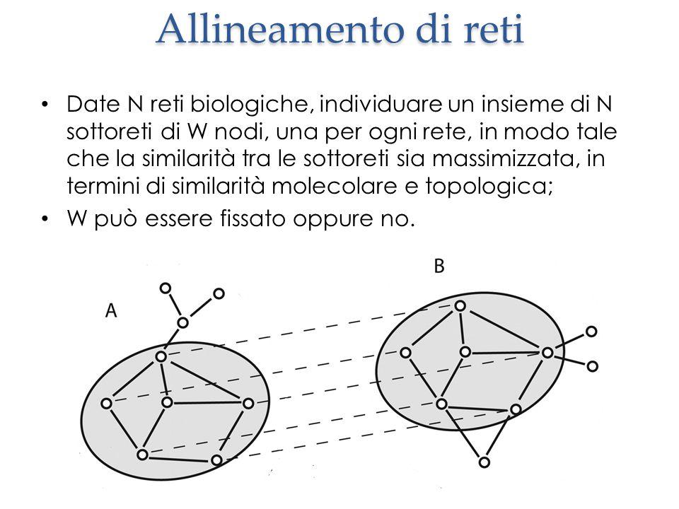 Date N reti biologiche, individuare un insieme di N sottoreti di W nodi, una per ogni rete, in modo tale che la similarità tra le sottoreti sia massimizzata, in termini di similarità molecolare e topologica; W può essere fissato oppure no.