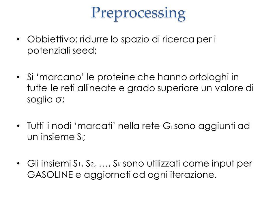 Preprocessing Obbiettivo: ridurre lo spazio di ricerca per i potenziali seed; Si 'marcano' le proteine che hanno ortologhi in tutte le reti allineate