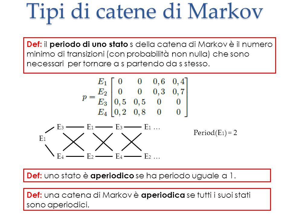Tipi di catene di Markov Def: il periodo di uno stato s della catena di Markov è il numero minimo di transizioni (con probabilità non nulla) che sono necessari per tornare a s partendo da s stesso.