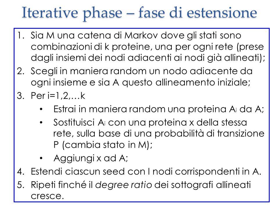 Iterative phase – fase di estensione 1.Sia M una catena di Markov dove gli stati sono combinazioni di k proteine, una per ogni rete (prese dagli insiemi dei nodi adiacenti ai nodi già allineati); 2.Scegli in maniera random un nodo adiacente da ogni insieme e sia A questo allineamento iniziale; 3.Per i=1,2,…k Estrai in maniera random una proteina A i da A; Sostituisci A i con una proteina x della stessa rete, sulla base di una probabilità di transizione P (cambia stato in M); Aggiungi x ad A; 4.Estendi ciascun seed con I nodi corrispondenti in A.