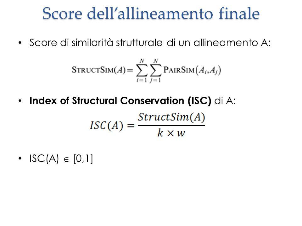 Score dell'allineamento finale Score di similarità strutturale di un allineamento A: Index of Structural Conservation (ISC) di A: ISC(A)  [0,1]