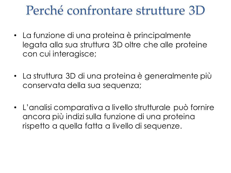 Perché confrontare strutture 3D La funzione di una proteina è principalmente legata alla sua struttura 3D oltre che alle proteine con cui interagisce;
