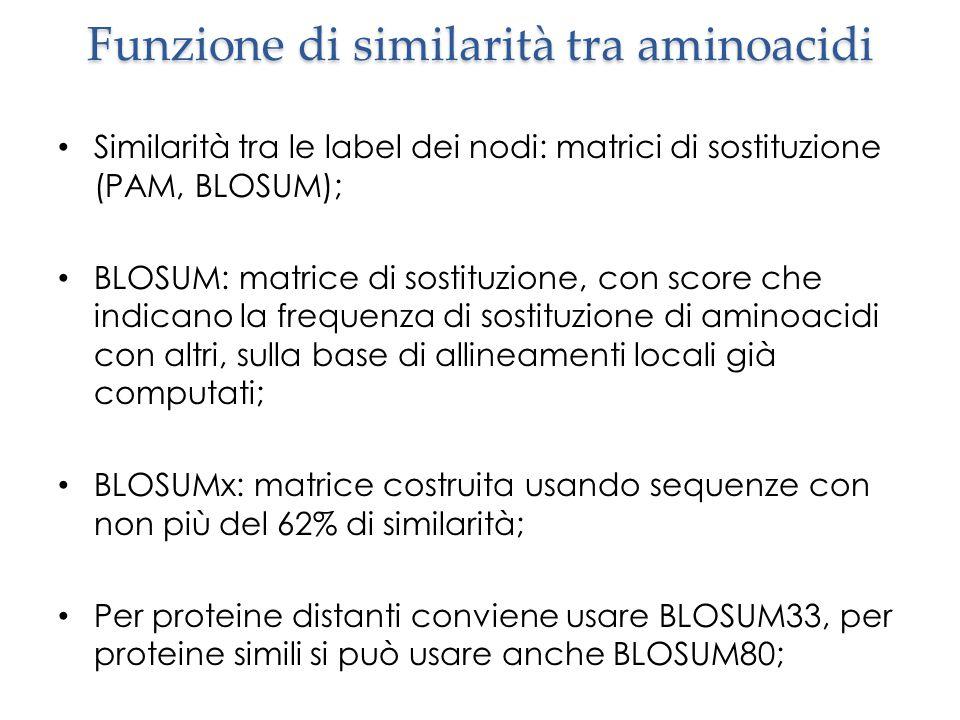 Funzione di similarità tra aminoacidi Similarità tra le label dei nodi: matrici di sostituzione (PAM, BLOSUM); BLOSUM: matrice di sostituzione, con score che indicano la frequenza di sostituzione di aminoacidi con altri, sulla base di allineamenti locali già computati; BLOSUMx: matrice costruita usando sequenze con non più del 62% di similarità; Per proteine distanti conviene usare BLOSUM33, per proteine simili si può usare anche BLOSUM80;