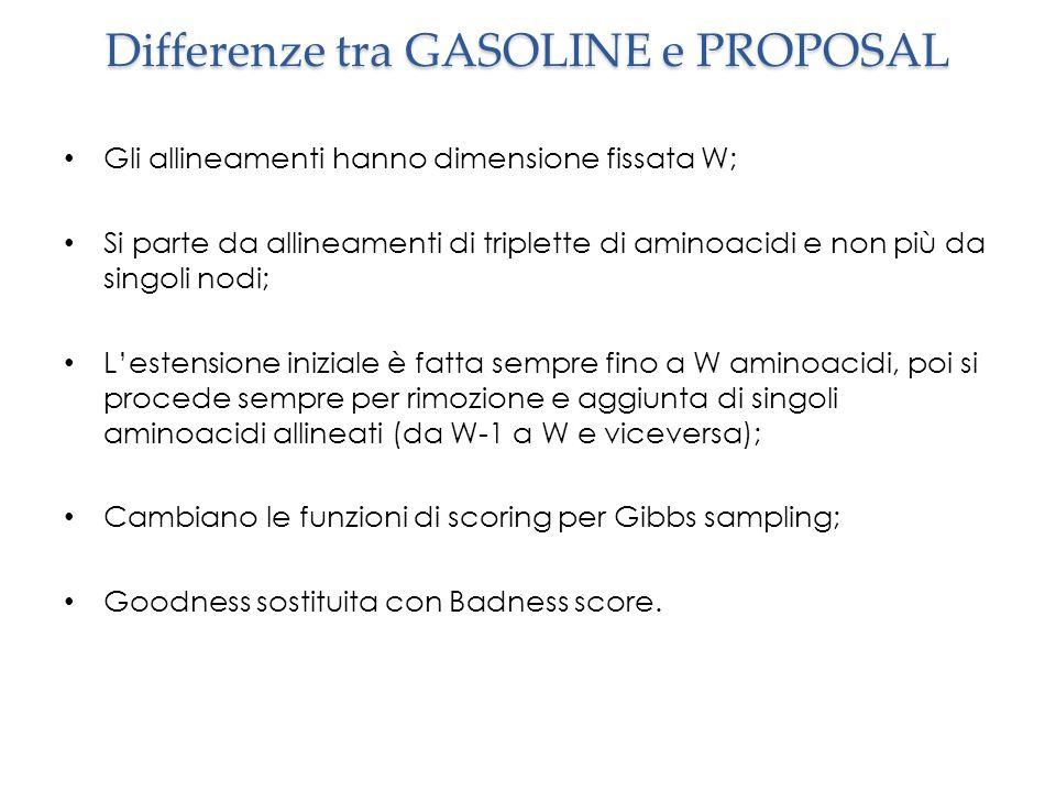 Differenze tra GASOLINE e PROPOSAL Gli allineamenti hanno dimensione fissata W; Si parte da allineamenti di triplette di aminoacidi e non più da singo