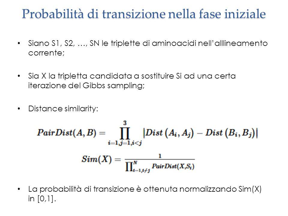 Probabilità di transizione nella fase iniziale Siano S1, S2, …, SN le triplette di aminoacidi nell'alllineamento corrente; Sia X la tripletta candidata a sostituire Si ad una certa iterazione del Gibbs sampling; Distance similarity: La probabilità di transizione è ottenuta normalizzando Sim(X) in [0,1].