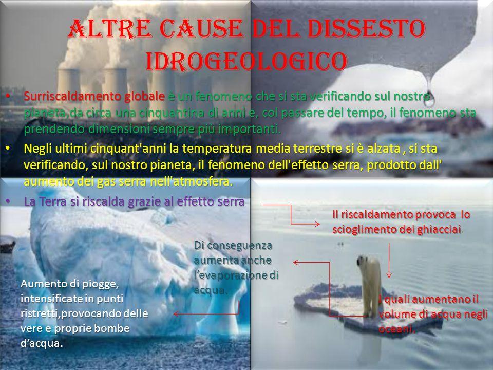 Altre cause del dissesto idrogeologico Surriscaldamento globale è un fenomeno che si sta verificando sul nostro pianeta,da circa una cinquantina di an
