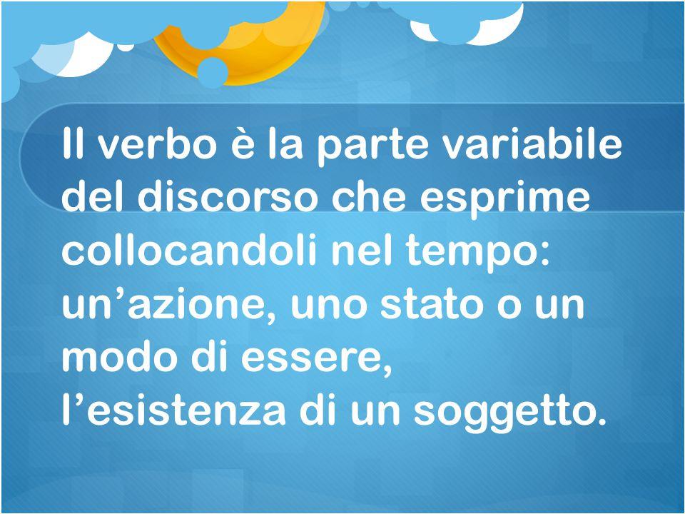 Il verbo è la parte variabile del discorso che esprime collocandoli nel tempo: un'azione, uno stato o un modo di essere, l'esistenza di un soggetto.