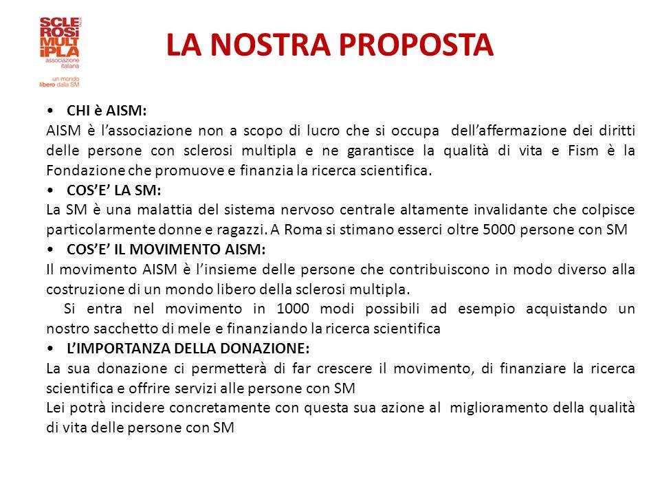 LA NOSTRA PROPOSTA CHI è AISM: AISM è l'associazione non a scopo di lucro che si occupa dell'affermazione dei diritti delle persone con sclerosi multipla e ne garantisce la qualità di vita e Fism è la Fondazione che promuove e finanzia la ricerca scientifica.