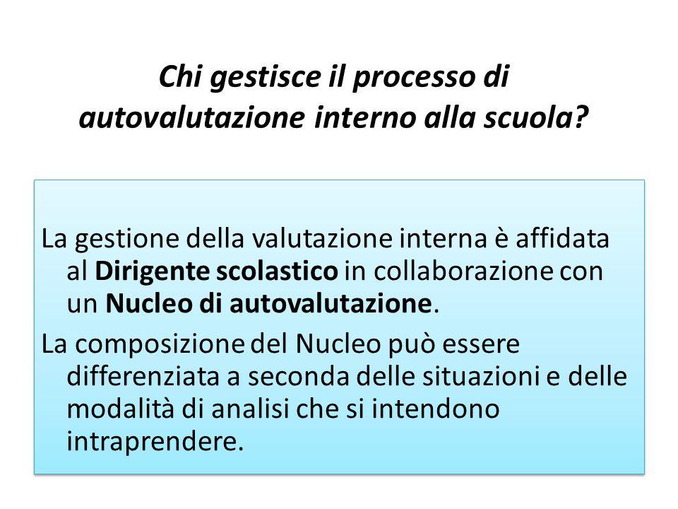 La gestione della valutazione interna è affidata al Dirigente scolastico in collaborazione con un Nucleo di autovalutazione.