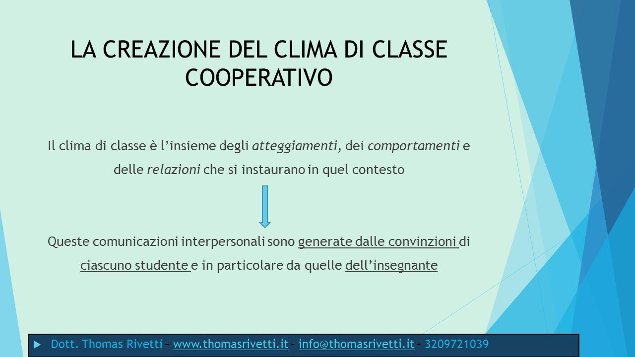 Con il proprio atteggiamento l'insegnante può promuovere tre tipi di clima: 1) individualistico-rinunciatario 2) competitivo-aggressivo 3) democratico cooperativo metacognitivo  Dott.