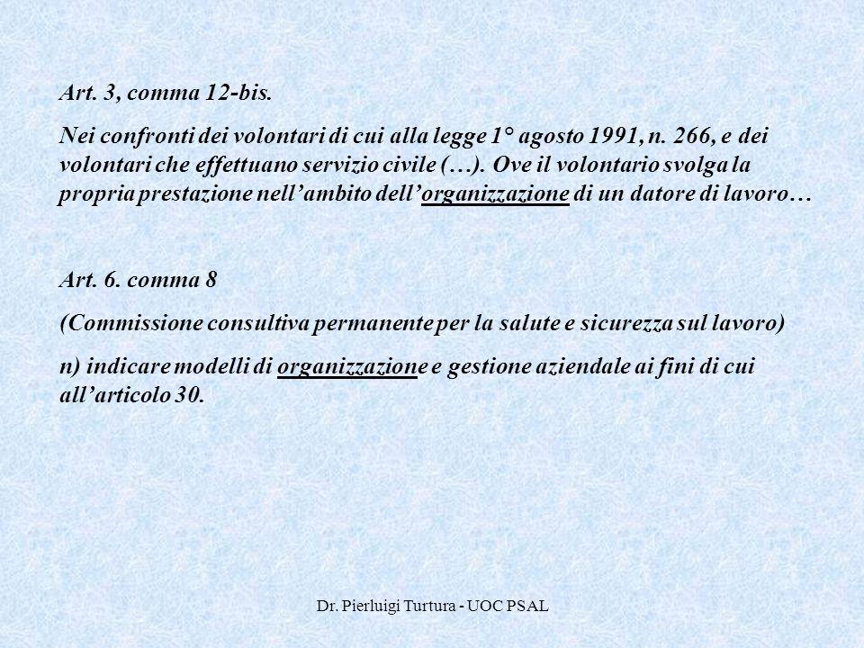 Dr. Pierluigi Turtura - UOC PSAL Art. 3, comma 12-bis. Nei confronti dei volontari di cui alla legge 1° agosto 1991, n. 266, e dei volontari che effet