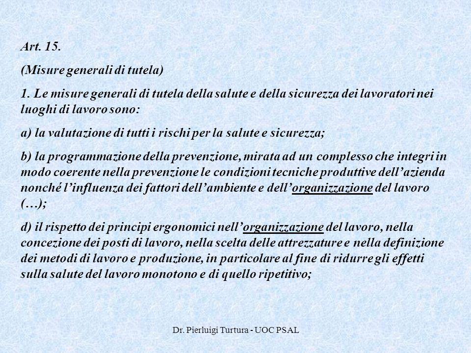 Dr. Pierluigi Turtura - UOC PSAL Art. 15. (Misure generali di tutela) 1. Le misure generali di tutela della salute e della sicurezza dei lavoratori ne