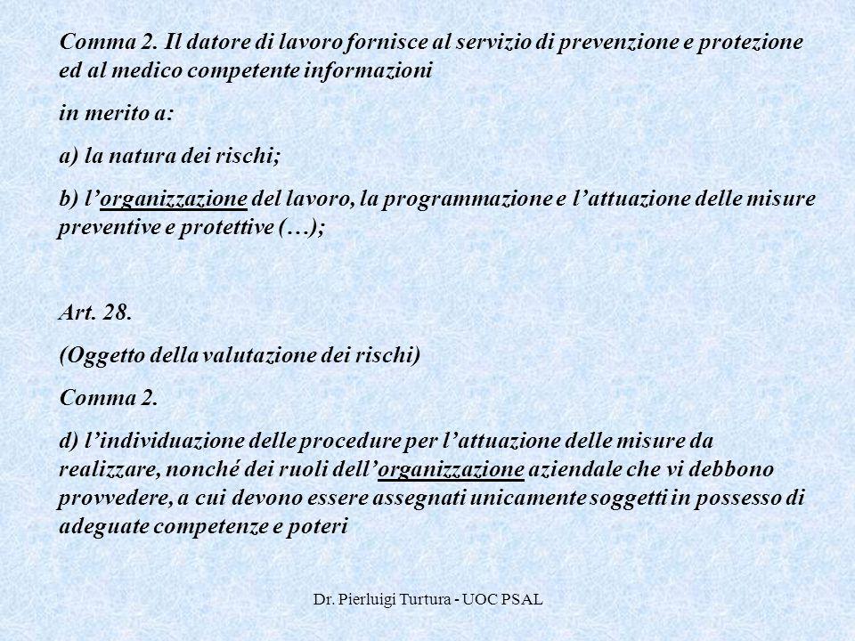 Dr. Pierluigi Turtura - UOC PSAL Comma 2. Il datore di lavoro fornisce al servizio di prevenzione e protezione ed al medico competente informazioni in