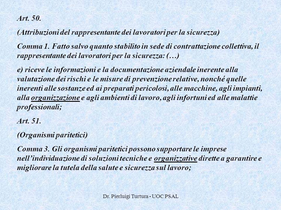 Dr. Pierluigi Turtura - UOC PSAL Art. 50. (Attribuzioni del rappresentante dei lavoratori per la sicurezza) Comma 1. Fatto salvo quanto stabilito in s