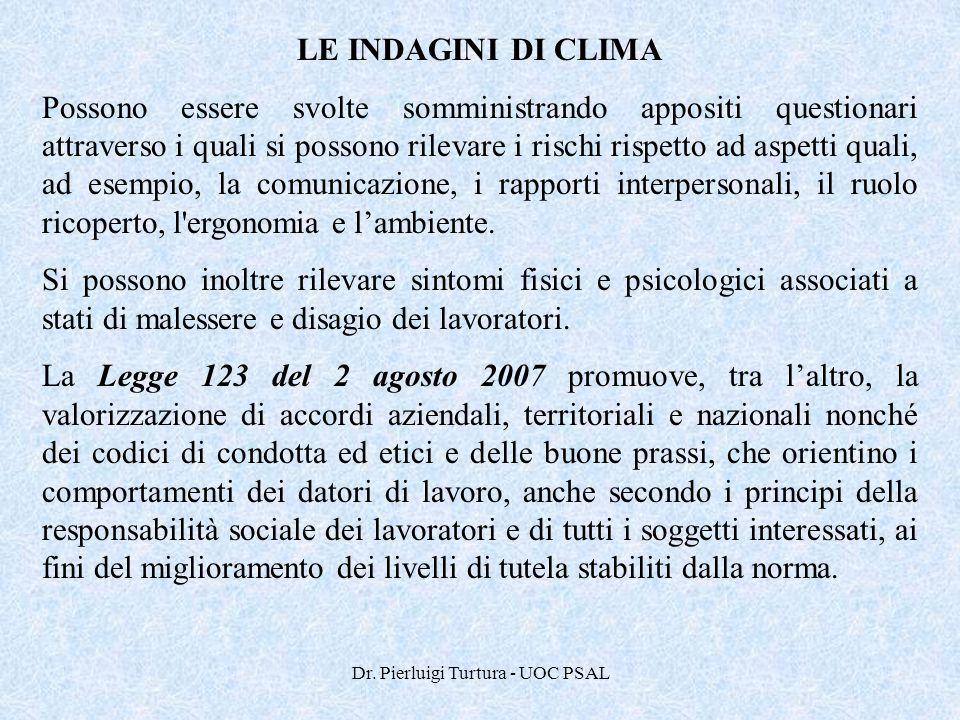 Dr. Pierluigi Turtura - UOC PSAL LE INDAGINI DI CLIMA Possono essere svolte somministrando appositi questionari attraverso i quali si possono rilevare