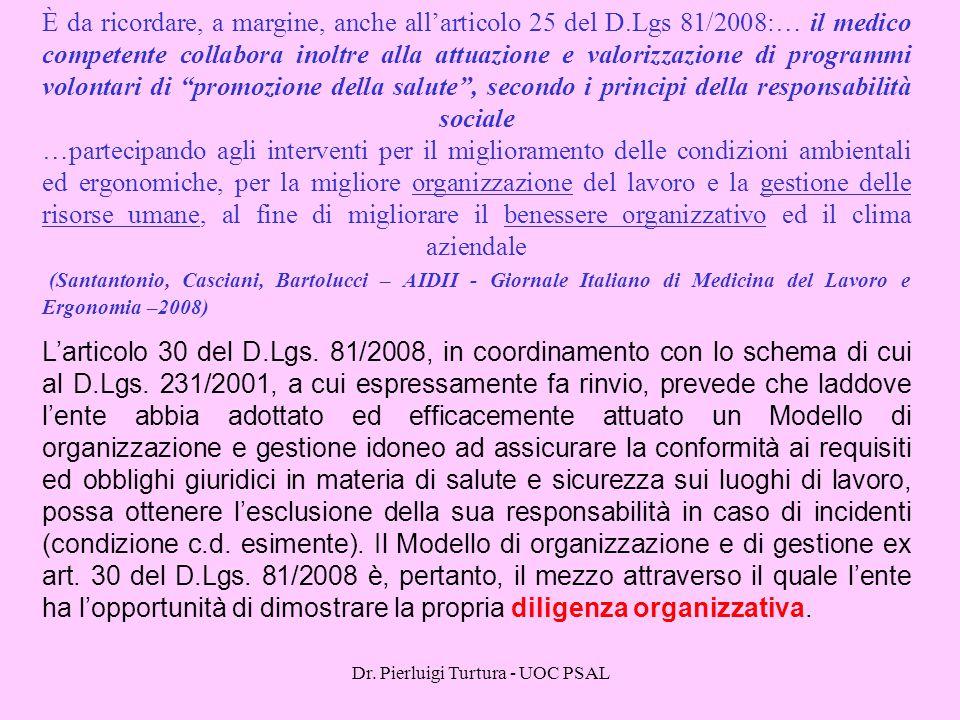 Dr. Pierluigi Turtura - UOC PSAL È da ricordare, a margine, anche all'articolo 25 del D.Lgs 81/2008:… il medico competente collabora inoltre alla attu