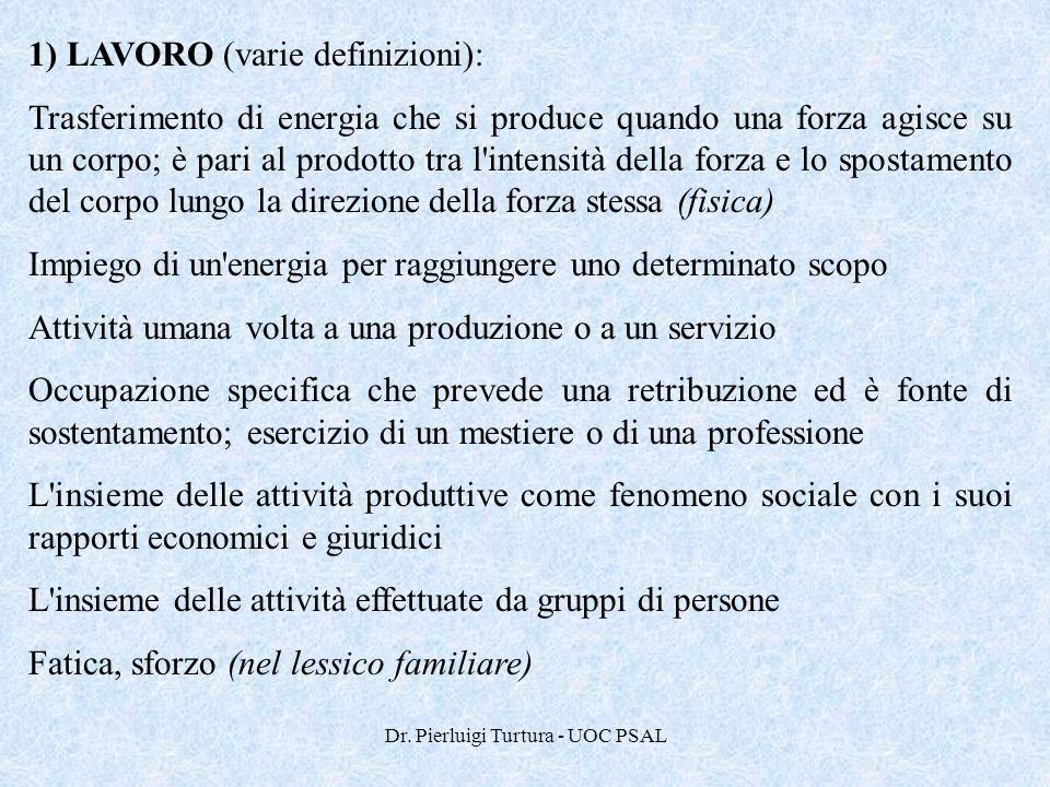 Dr. Pierluigi Turtura - UOC PSAL 1) LAVORO (varie definizioni): Trasferimento di energia che si produce quando una forza agisce su un corpo; è pari al