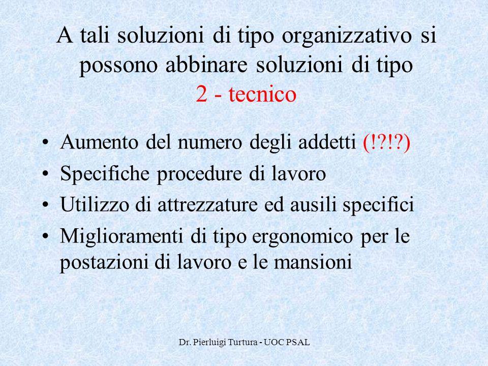Dr. Pierluigi Turtura - UOC PSAL A tali soluzioni di tipo organizzativo si possono abbinare soluzioni di tipo 2 - tecnico Aumento del numero degli add