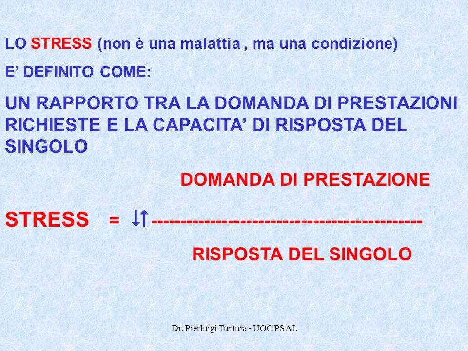 Dr. Pierluigi Turtura - UOC PSAL LO STRESS (non è una malattia, ma una condizione) E' DEFINITO COME: UN RAPPORTO TRA LA DOMANDA DI PRESTAZIONI RICHIES