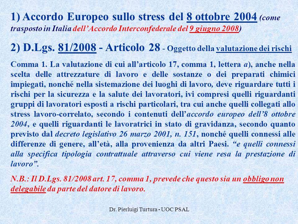 Dr. Pierluigi Turtura - UOC PSAL 1) Accordo Europeo sullo stress del 8 ottobre 2004 (come trasposto in Italia dell'Accordo Interconfederale del 9 giug