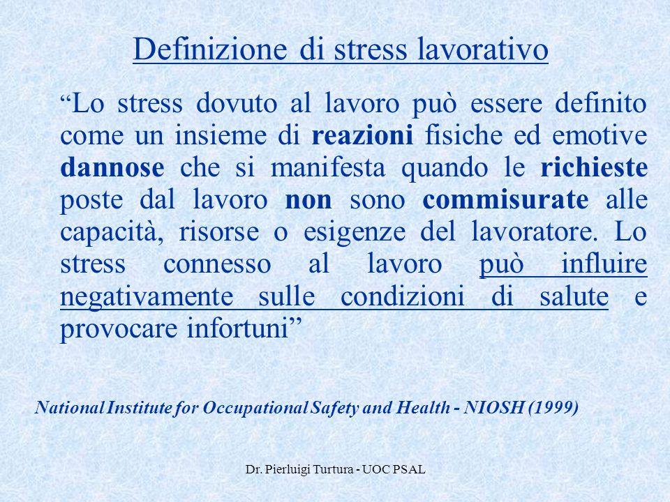 """Dr. Pierluigi Turtura - UOC PSAL Definizione di stress lavorativo """" Lo stress dovuto al lavoro può essere definito come un insieme di reazioni fisiche"""