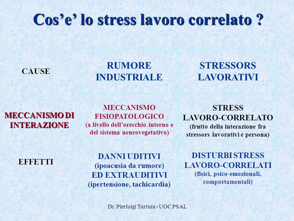 Dr. Pierluigi Turtura - UOC PSAL Cos'e' lo stress lavoro correlato ? CAUSE MECCANISMO DI INTERAZIONE EFFETTI RUMORE INDUSTRIALE STRESSORS LAVORATIVI M