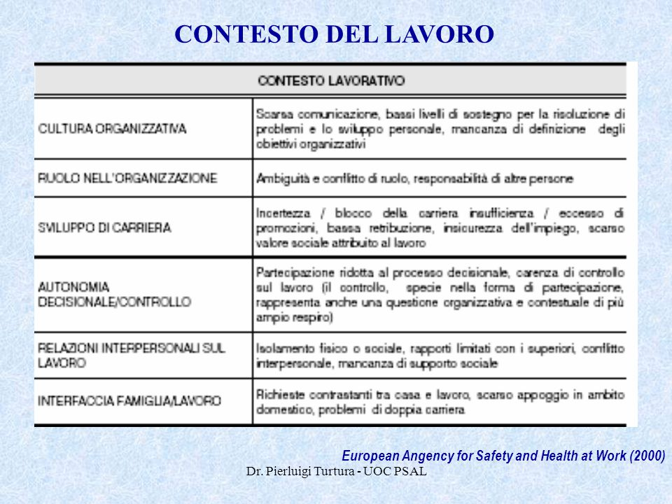 Dr. Pierluigi Turtura - UOC PSAL European Angency for Safety and Health at Work (2000) CONTESTO DEL LAVORO