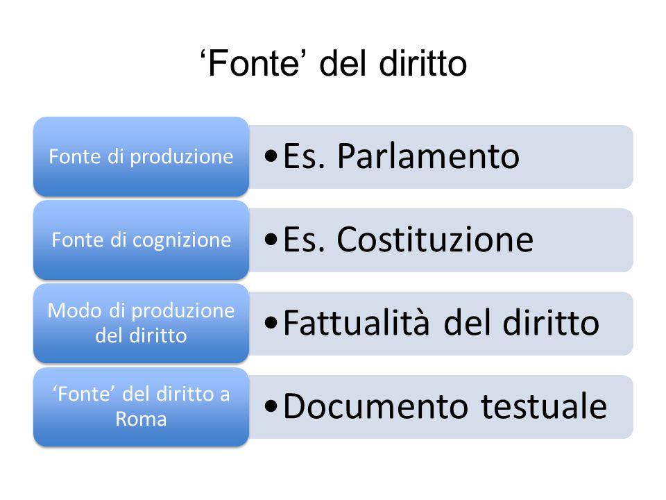 'Fonte' del diritto Es. Parlamento Fonte di produzione Es. Costituzione Fonte di cognizione Fattualità del diritto Modo di produzione del diritto Docu