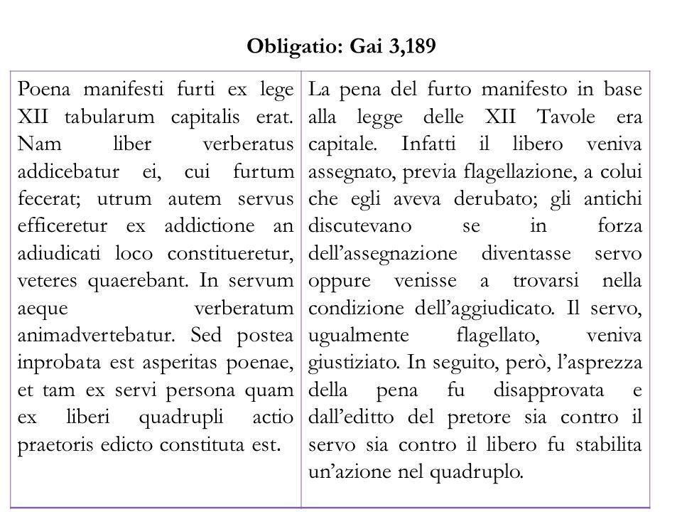 Obligatio: Gai 3,189 Poena manifesti furti ex lege XII tabularum capitalis erat. Nam liber verberatus addicebatur ei, cui furtum fecerat; utrum autem