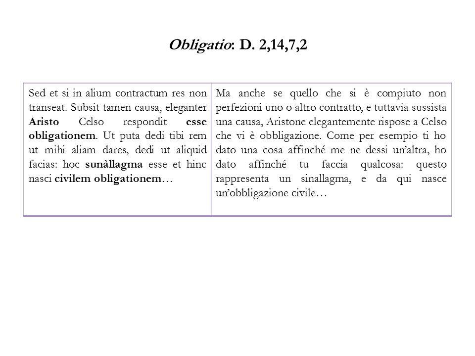 Obligatio: D. 2,14,7,2 Sed et si in alium contractum res non transeat. Subsit tamen causa, eleganter Aristo Celso respondit esse obligationem. Ut puta