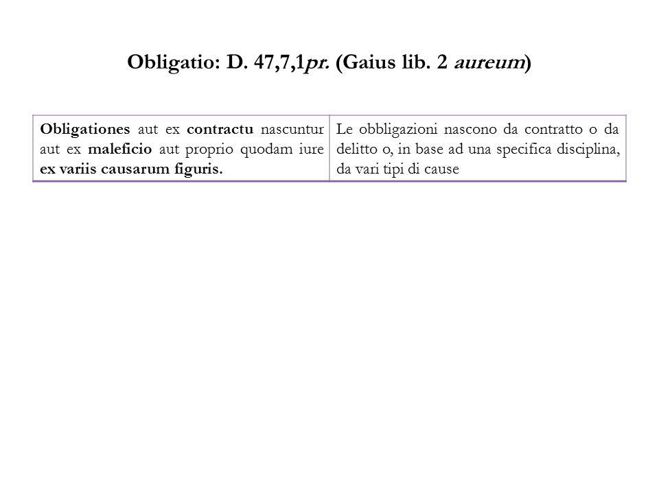 Obligatio: D. 47,7,1pr. (Gaius lib. 2 aureum) Obligationes aut ex contractu nascuntur aut ex maleficio aut proprio quodam iure ex variis causarum figu