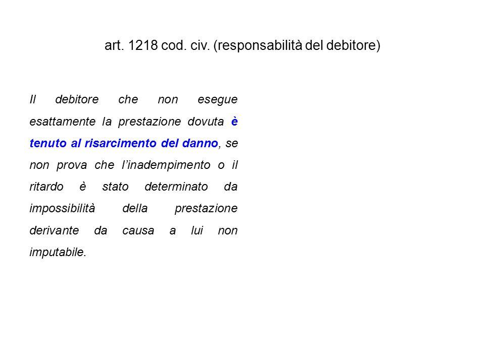 art. 1218 cod. civ. (responsabilità del debitore) Il debitore che non esegue esattamente la prestazione dovuta è tenuto al risarcimento del danno, se