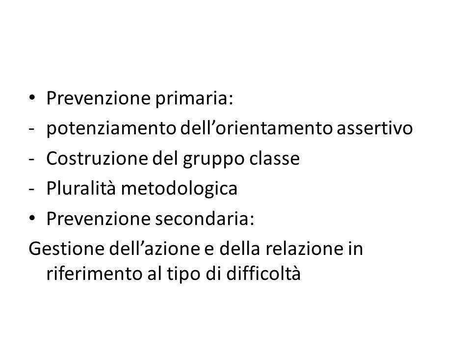 Prevenzione primaria: -potenziamento dell'orientamento assertivo -Costruzione del gruppo classe -Pluralità metodologica Prevenzione secondaria: Gestio