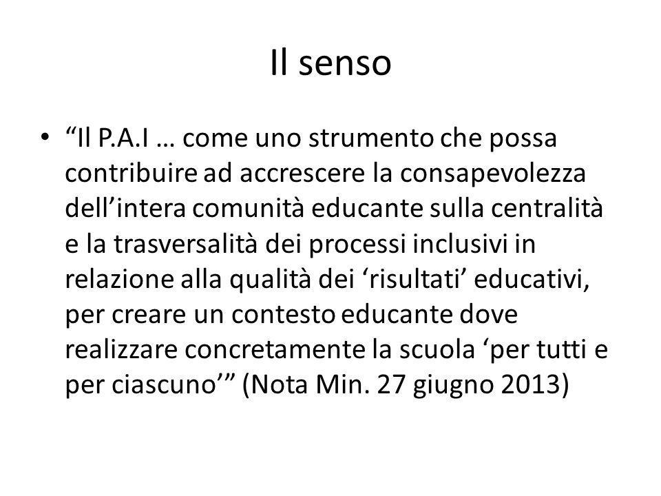 """Il senso """"Il P.A.I … come uno strumento che possa contribuire ad accrescere la consapevolezza dell'intera comunità educante sulla centralità e la tras"""