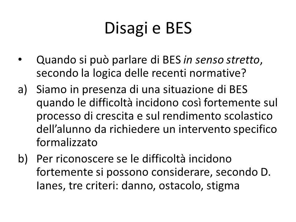 Disagi e BES Quando si può parlare di BES in senso stretto, secondo la logica delle recenti normative? a)Siamo in presenza di una situazione di BES qu