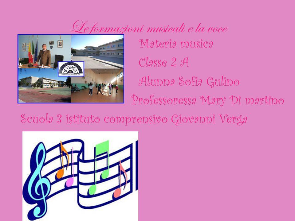 Le formazioni musicali e la voce Materia musica Classe 2 A Alunna Sofia Gulino Professoressa Mary Di martino Scuola 3 istituto comprensivo Giovanni Ve