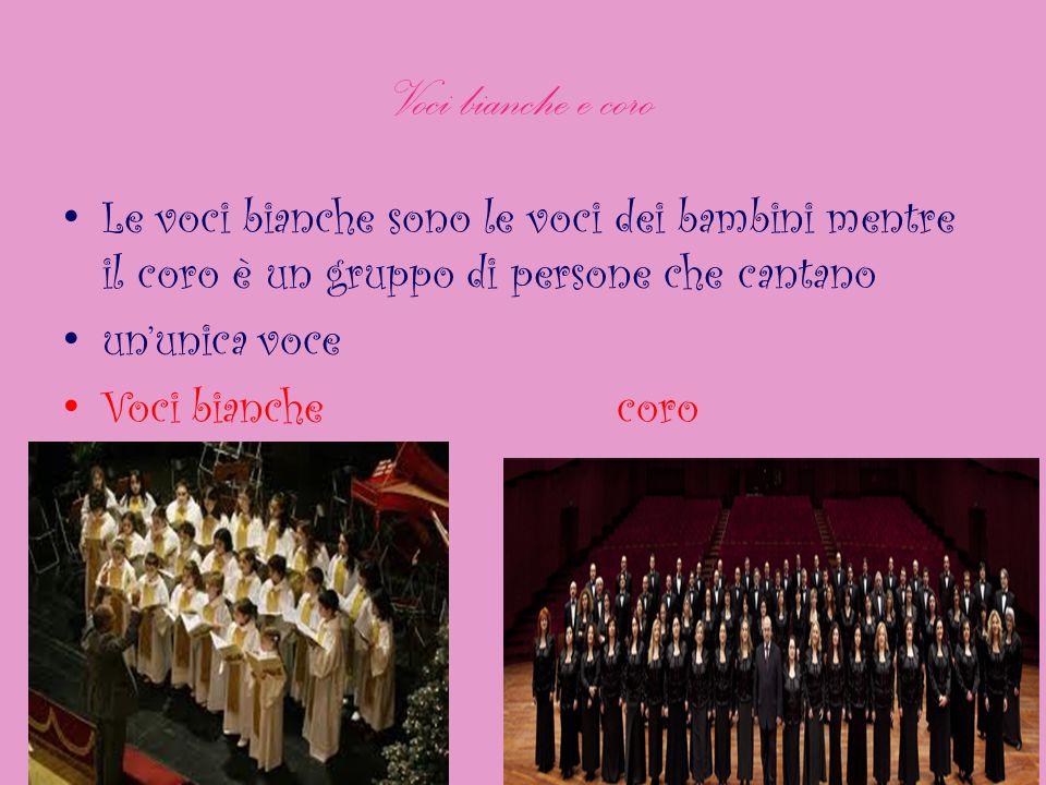 Voci bianche e coro Le voci bianche sono le voci dei bambini mentre il coro è un gruppo di persone che cantano un'unica voce Voci bianche coro